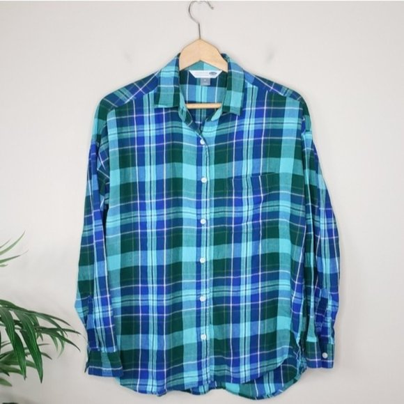Old Navy | Green Blue Plaid Boyfriend Shirt